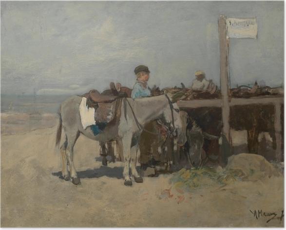 Póster Anton Mauve - Puesto para burros en la playa en Scheveningen - Reproductions