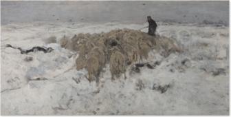 Póster Anton Mauve - Rebaño de ovejas con pastor en la nieve