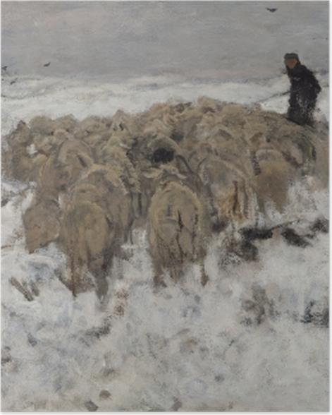Poster Anton Mauve - Troupeau de moutons avec berger dans la neige - Reproductions