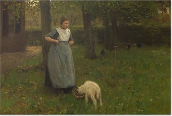 Poster Anton Mauve - Žena z Laren s jehnětem - Reproductions