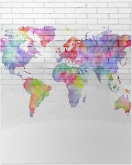 Poster Aquarel wereldkaart op een bakstenen muur