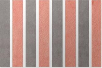Poster Aquarelle fond rayé rose et gris.
