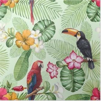 Poster Aquarelle toucan et perroquet. modèle sans couture