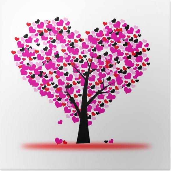 Póster Árbol de San Valentín color de rosa, amor, hoja de corazones ...