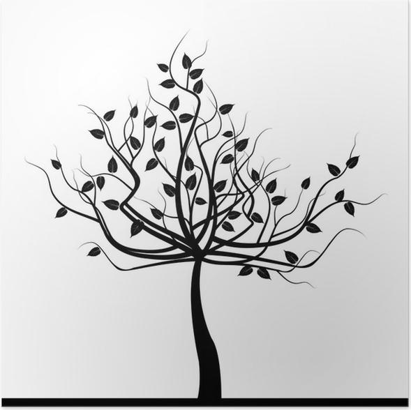 Póster Árbol negro abstracto sobre fondo blanco • Pixers® - Vivimos ...