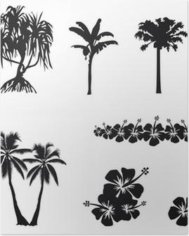 Poster Arbres tropicaux et hibiscus en ombre chinoise
