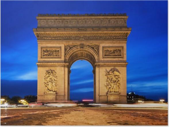 arc de triomphe at night paris france poster pixers we live