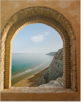 arched window on the coastal landscape of a bay Poster