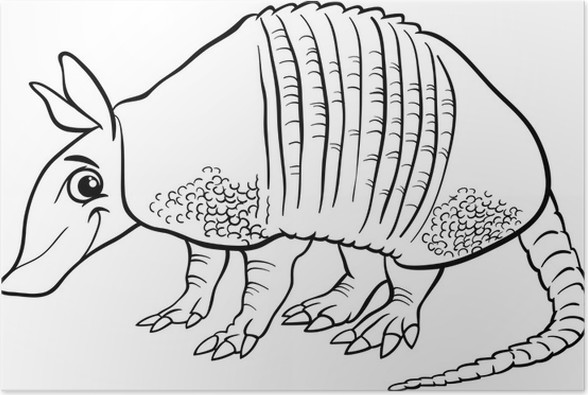 Armadillo Animal Cartoon Coloring Page Poster