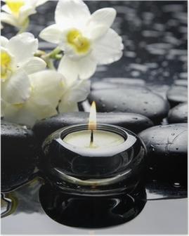 Poster Aromatherapie kaars en zen stenen met witte orchidee tak