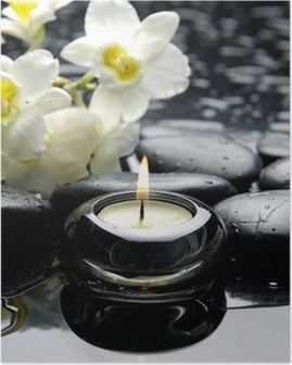 aromatherapy candle and zen stones with branch white orchid Poster