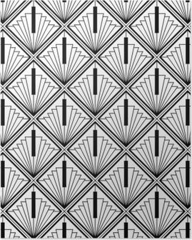 art deco monochrome seamless arabic black Poster