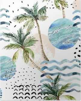 Art illustration with palm tree, doodle and marble grunge textures. Poster