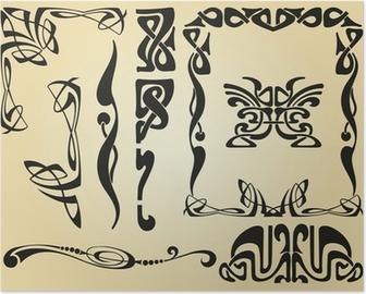Poster Art Nouveau ontwerp kader en elementen