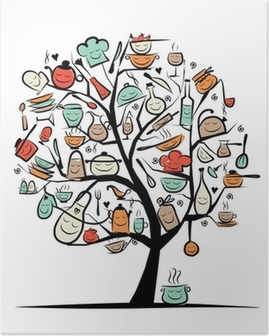 Art tree with kitchen utensils, sketch drawing for your design Poster