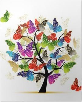 Póster Arte de árbol con mariposas para el diseño de su