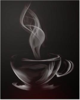 Poster Artistieke Illustratie Rook Kopje Koffie op zwart