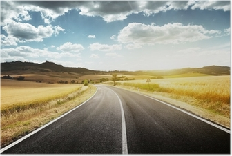 asphalt road in Tuscany Italy Poster