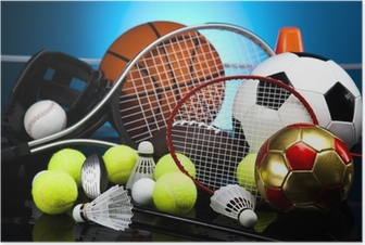 Assorted sports equipment Poster