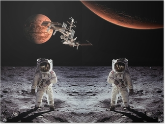Poster Astronautes Spaceman Lune Planètes