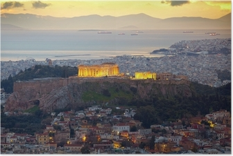 Athens, Greece. After sunset. Parthenon and Herodium constructi Poster