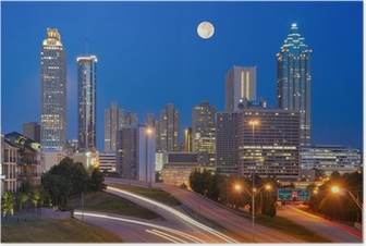 Atlanta Skyline under Full Moon Poster