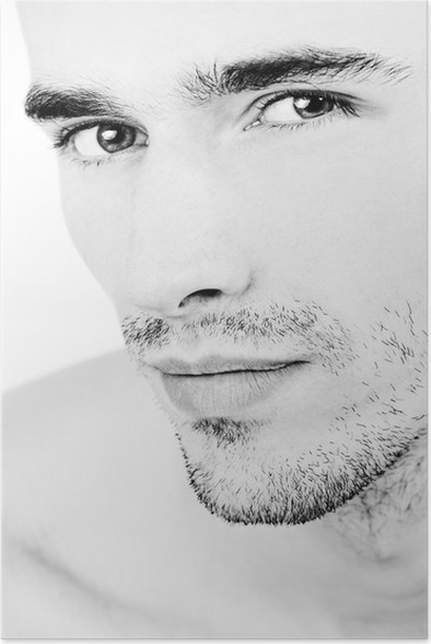 Attractive man face black and white portrait poster lifestylebody care and beauty