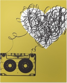 Audiocassette with tangled tape. Haert shaped Poster