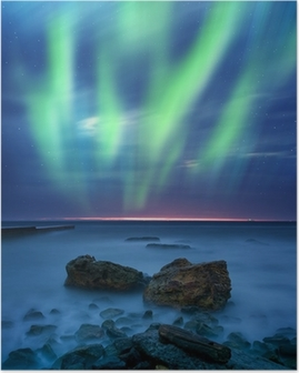 aurora borealis over the sea Poster