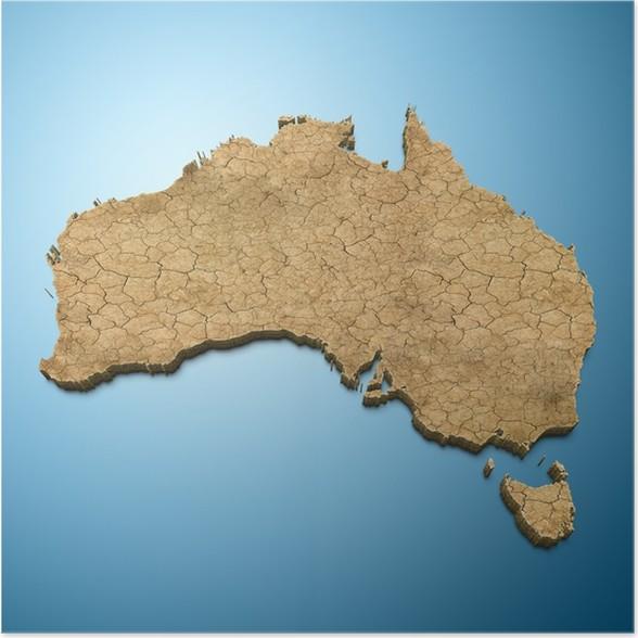 australia map australian map desert poster