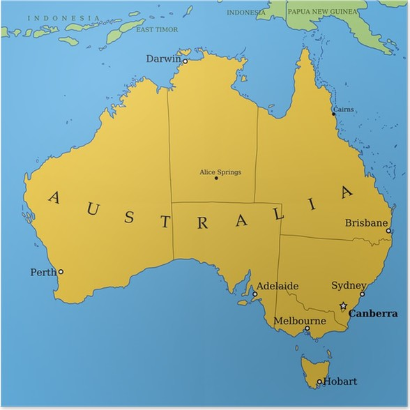 australia map with major cities and provinces poster