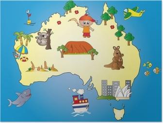 Poster Australië Kaart