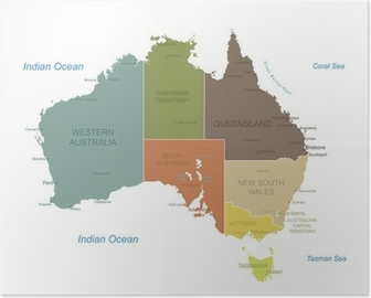 Poster Australië-zeer gedetailleerde map.Layers gebruikt.