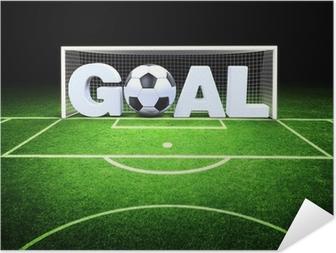 Póster Autoadhesivo 3d meta con balón de fútbol en el estadio