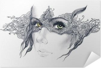Póster Autoadhesivo Abstracto mujer decorado cara
