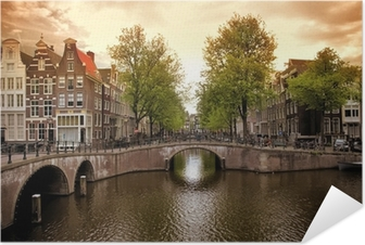 Póster Autoadhesivo Amsterdam canales