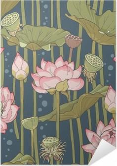 Póster Autoadhesivo Blooming sin fisuras de loto