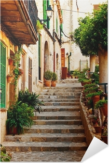 Póster Autoadhesivo Calle en el pueblo de Valldemossa en Mallorca