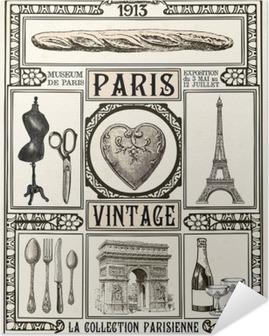 Póster Autoadhesivo Cartel de la vendimia de París