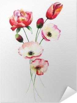 Póster Autoadhesivo Flores de amapola y tulipanes