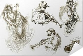 Póster Autoadhesivo Hombres jazz (recolección manual de dibujo de bocetos)