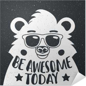 Póster Autoadhesivo Ilustración vectorial con hipster elegante oso blanco en gafas de sol.
