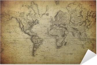 Póster Autoadhesivo Mapa del vintage del mundo 1814 ..