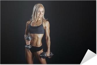 c68ba07bbc15 Vinilo Pixerstick Sexy mujer deportiva rubia en tapa y bragas azules •  Pixers® - Vivimos para cambiar