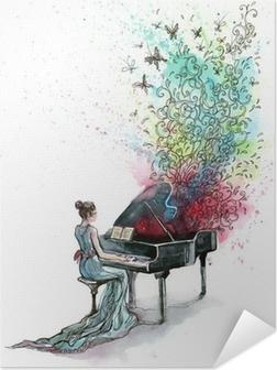 Póster Autoadhesivo Música de piano de cola (serie C)