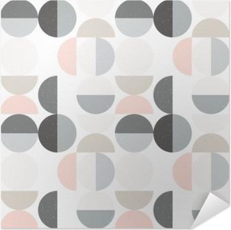Póster Autoadhesivo Patrón geométrico inconsútil abstracto vector moderno con círculos semi y círculos en estilo escandinavo retro
