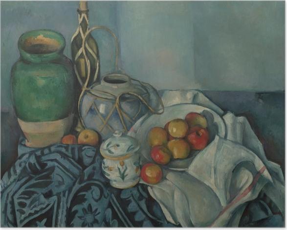 Póster Autoadhesivo Paul Cézanne - Naturaleza muerta con manzanas - Reproducciones
