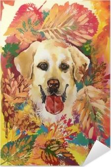 Póster Autoadhesivo Perro de otoño dibujado a mano ilustración