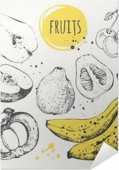 Póster Autoadhesivo Plátano, mangostán, manzana, bergamota. Conjunto drenado mano con comida fresca.