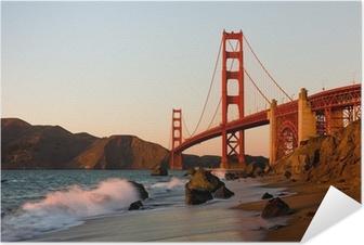 Póster Autoadhesivo Puente Golden Gate en San Francisco al atardecer
